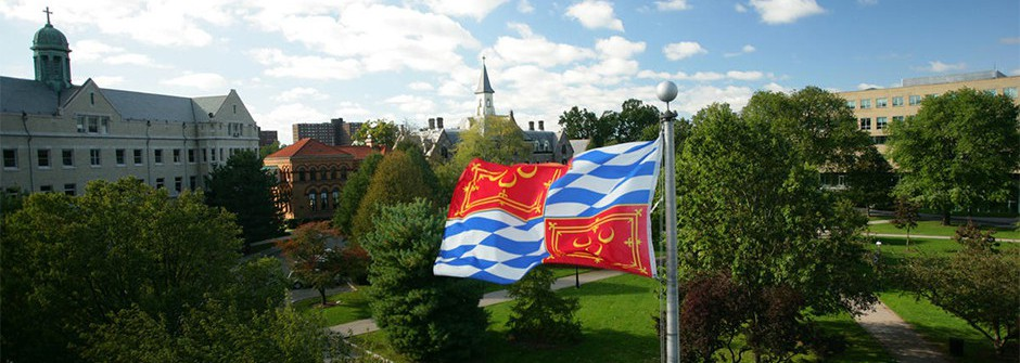 Seton Hall University Campus with Flag