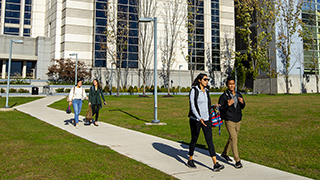 Students walking on the IHS campus.