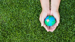 Model of a globe clasped in hands with grass in the background. x320