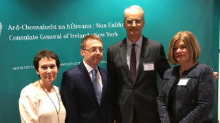 Ciaran Madden, Consul General of Ireland in New York, congratulates Deirdre Donohue Yates, Hugh Dugan and Phyllis Shanley Hansell on their induction into the Irish Education 100 on December 13.