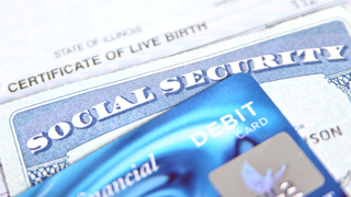 Image of social security and credit cards.